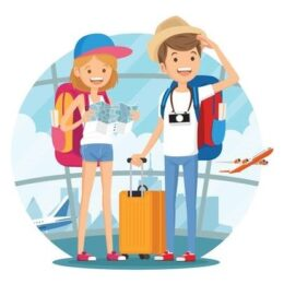 112042260-stock-vector-traveling-couple-of-young-people-man-and-woman-with-luggage-are-go-in-the-airport-building-vector-il